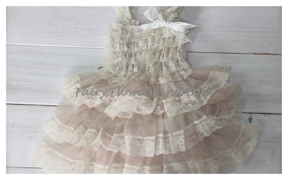 Boda - Champagne Rustic Lace Chiffon Dress Shabby Chic Flower Girl Dress, Wedding Dress,  (Infant, Toddler, Child)