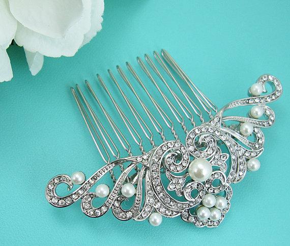 Mariage - Art Deco Pearl Wedding Comb, Rhinestone Comb, Bridal Comb pearl, Wedding Crystal Hair Comb, Hair Comb, Wedding Accessory, Bridal Headpiece