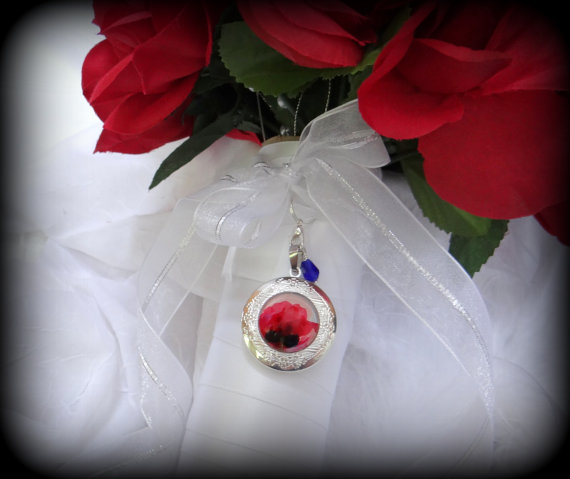 Poppies wedding bouquet locket poppy locket for wedding flowers poppies wedding bouquet locket poppy locket for wedding flowers something blue wedding photo locket mightylinksfo