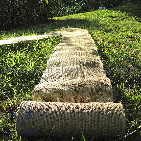 Mariage - 8, 12 inch x 15yds(45FT)  Shabby Chic Rustic Natural Jute burlap Ribbon Fabric for Table Runner Crafts stencil Wedding Chair Sashes