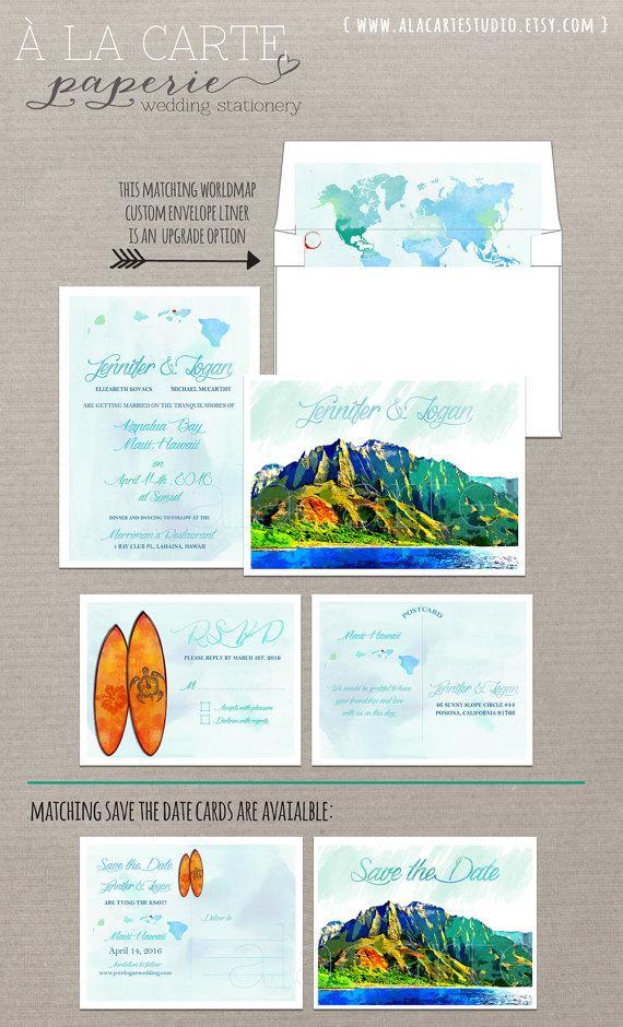 زفاف - Hawaii Islands Watercolor effect Wedding Invitation and RSVP card