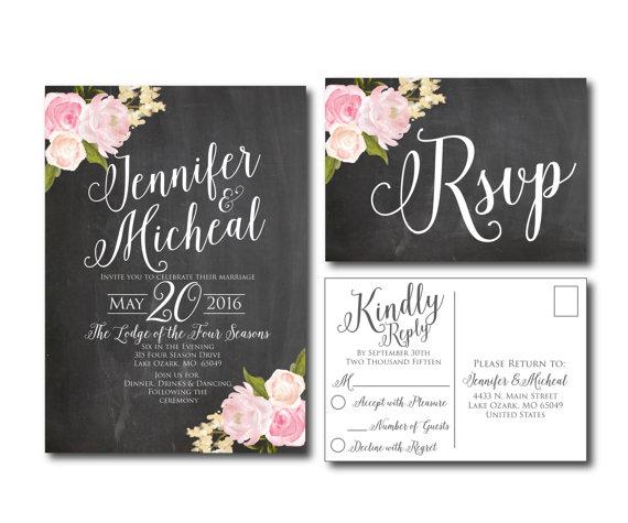 زفاف - Rustic Wedding Invitation - Chalkboard Wedding - Fall Wedding - Floral Wedding - Printable Wedding Invitation - Rsvp Postcard - Wedding Rsvp
