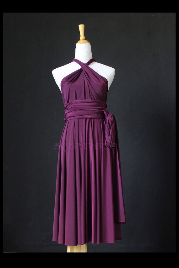 زفاف - Bridesmaid Dress Infinity Dress Dark Purple Knee Length Wrap Convertible Dress Wedding Dress