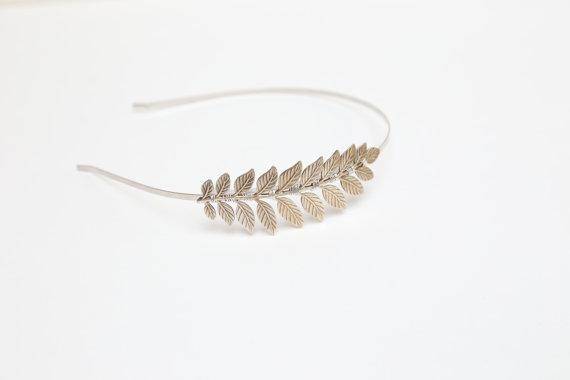 Mariage - Silver Goddess Leaf Headband - Simple Silver Leaf Headband, Bridal and Everyday, Silver Laurel Leaf