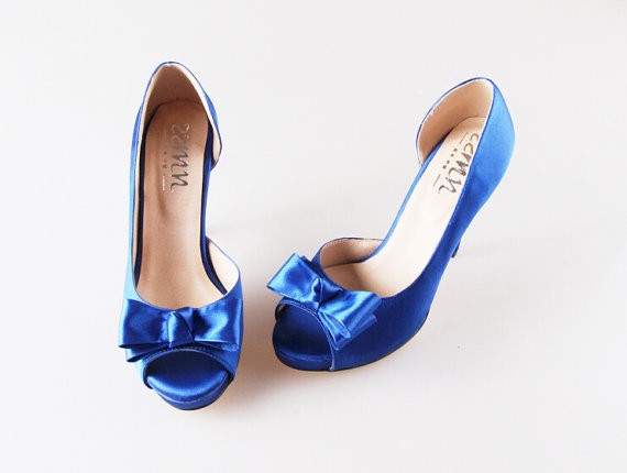 Mariage - Royal blue D'orsay bow wedding shoes silk satin peep toe open toe party prom shoes pumps