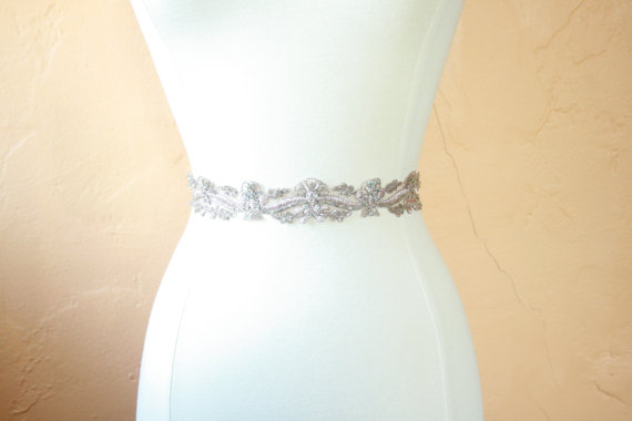 Wedding - Silver & Pink Beaded Bridal Sash