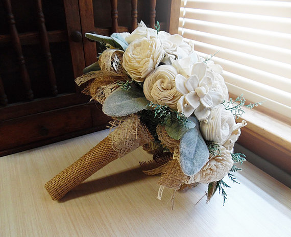 Свадьба - Rustic Woodland Bouquet with Sola Flowers, Burlap, Lace, Grey Green Lambs Ear Leaves and Green Caspia. Made to Order.