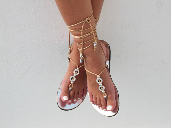 Leather Sandals In Silver Lace Up Bridal Wedding Flats HERA 06 NEW