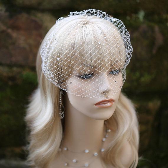 Mariage - Birdcage Veil Wedding Bridal Blusher Rhinestones Scattered Over the Veil