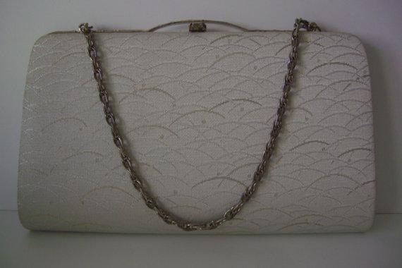 Свадьба - Silver bridal handbag or clutch purse, silk brocade, vintage Japanese wedding purse