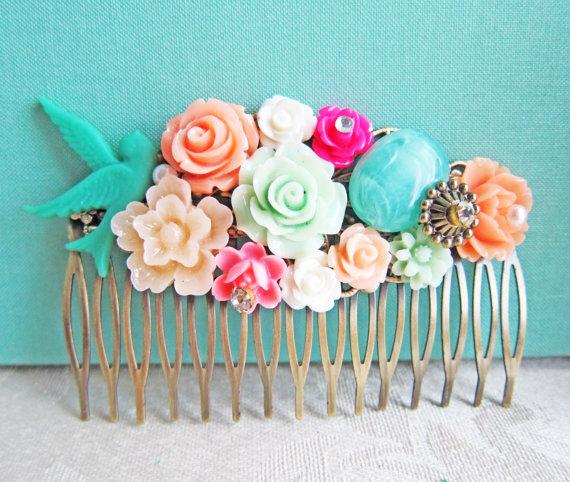 Свадьба - Bridal Hair Comb Wedding Bridesmaid Gift Hot Pink Turquoise Orange Aqua Sea Foam Mint Green Peach Apple Green Bright Colorful Shabby Chic