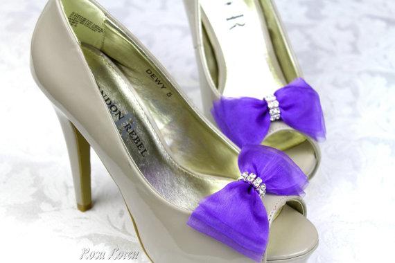 زفاف - Purple Shoe Bows, Purple Bow Shoe Clips, Purple Wedding Accessories, Purple Bling Shoes Clip