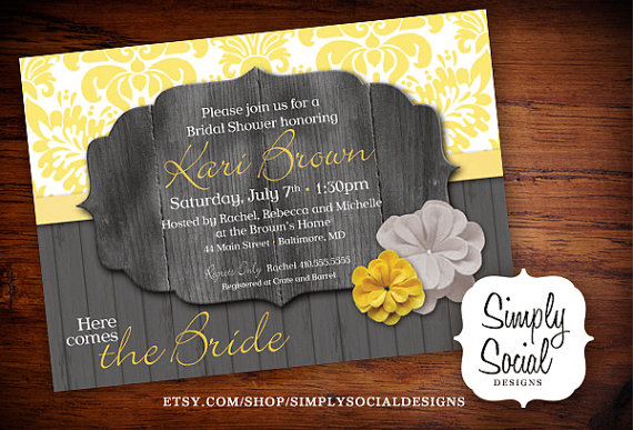 Wedding - Rustic Bridal Shower Invitation Grey and Yellow