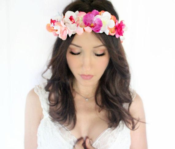 Mariage - Tropical Flower Crown, Orchids, Wedding Headpiece, Bridal Tiara, Hair Flower, beach, destination - SAND - by DeLoop