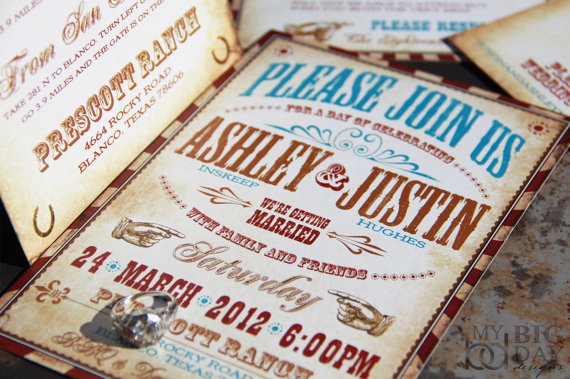Vintage Western Wedding Invitation Set Vaudeville Wedding