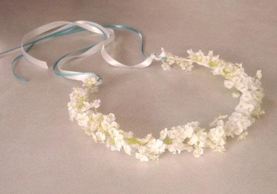 Mariage - White Bridal Flower Crown Babys Breath floral Hair Wreath Flower Girl halo Bridal headpiece artificial garland handmade Wedding Accessories