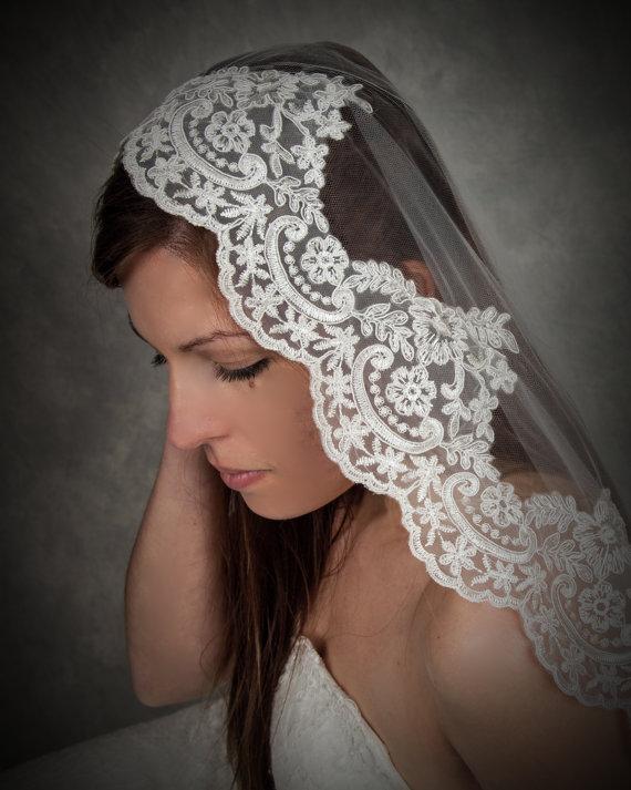 زفاف - Soft Mantilla Lace Wedding Veil