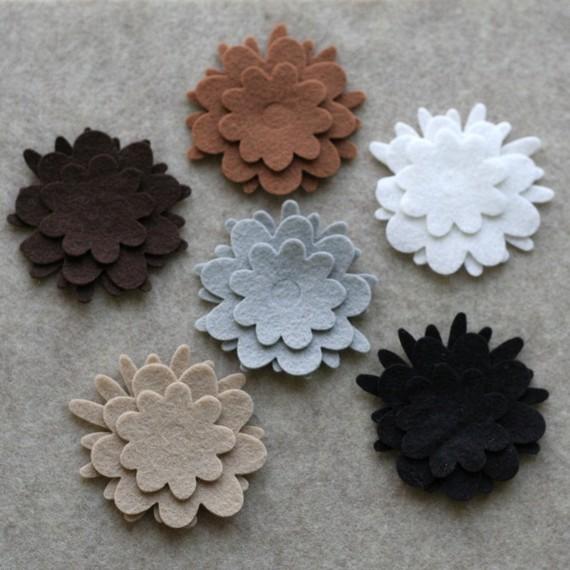 Mariage - Wool Standards - Flowers - 36 Die Cut Wool Felt Flowers