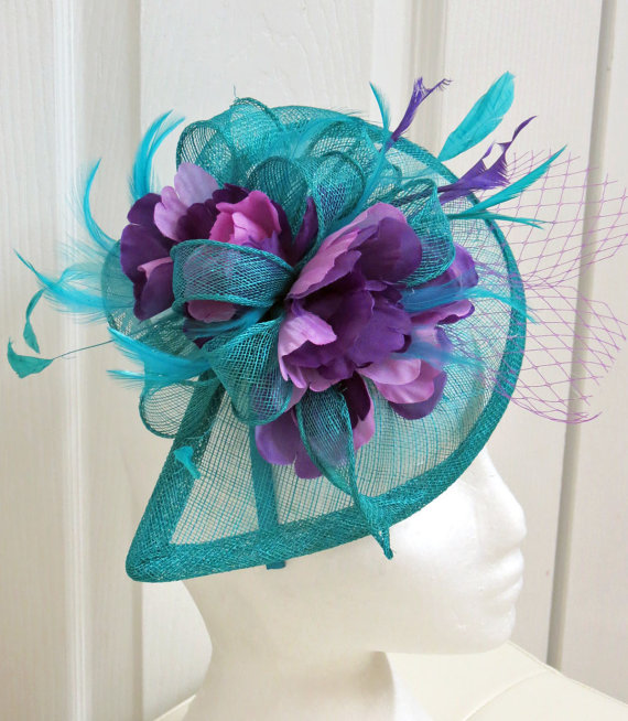 NEW! Teal Fascinator - Turquoise Fascinator Wedding Hat Lavender ...