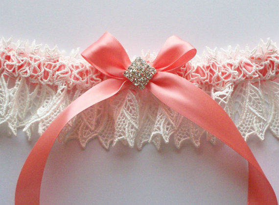 Mariage - Wedding Garter Ivory Lace Over Coral Satin with Rhinestone Centered Bow - The KIMBERLY Garter