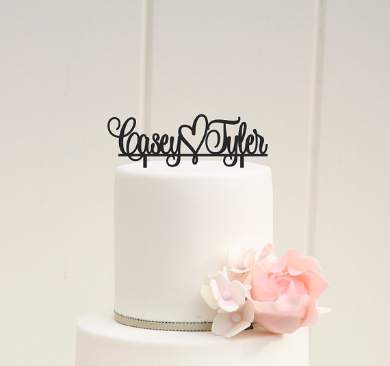 Свадьба - Wedding Cake Topper First Names with Heart Personalized with YOUR Names