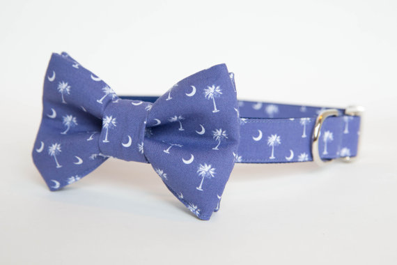 Свадьба - South Carolina Dog Bow Tie Collar in Blue