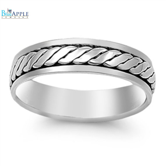 Twisted Rope Spinner Band Ring Solid 925 Sterling Silver 6mm Plain