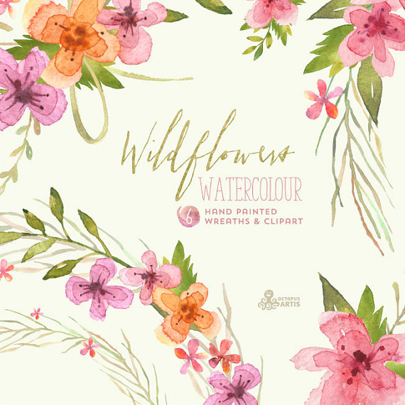 Hochzeit - Wildflowers Watercolour Bouquets & Wreaths. Digital Clipart. Handpainted, floral, wedding elements, country flowers, invite, blossom, frames