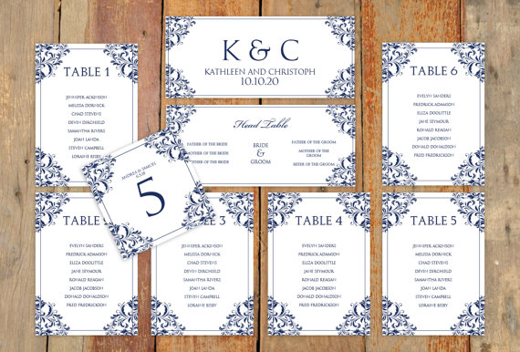 Mariage - Wedding Seating Chart Template - Download Instantly - EDIT YOURSELF -Nadine (Navy)  - Microsoft Word Format