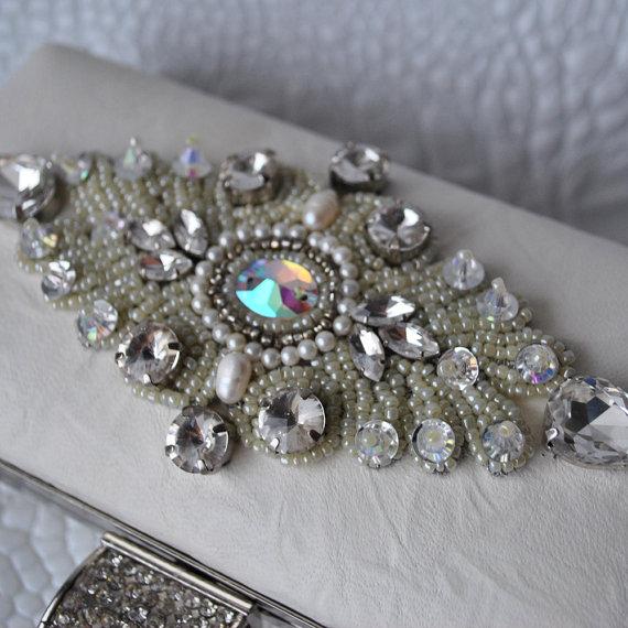 82aed0c75d Wedding Clutch, Purse Swarovski Leather Italian Ivory Lambskin ...