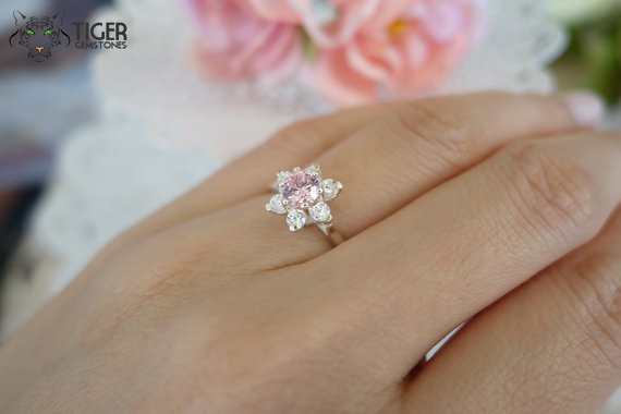 1 Carat Halo Flower Engagement Ring Pink And White Man Made