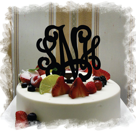 "Mariage - Monogram Wedding Cake Topper - 5""or 6"" Beautiful  Vine Monogram Cake Topper ( Special Custom Made Initial Wedding Topper )"