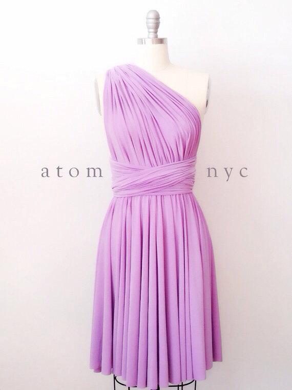 Hochzeit - Lavender Infinity Dress Convertible Formal Multiway Wrap Dress Bridesmaid Dress Cocktail Dress Evening Dress Short