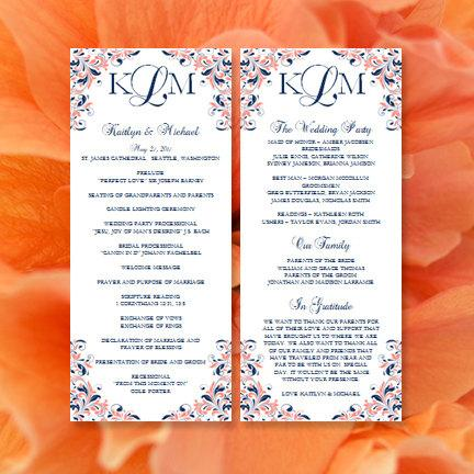 printable kaitlyn wedding program template coral navy blue order