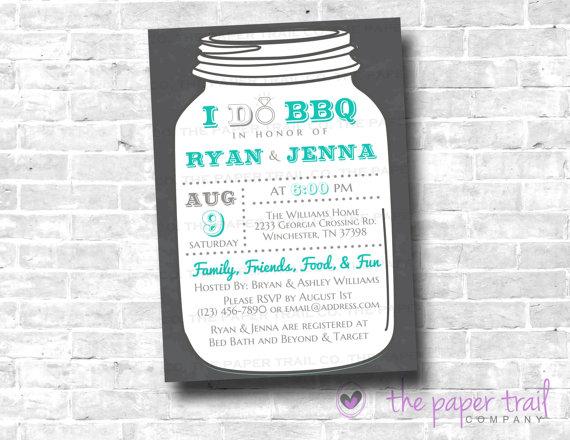 Mariage - I Do BBQ Invitation, Wedding Shower, Chalkboard, Mason Jar Invitation, Couples Shower, Bridal Shower