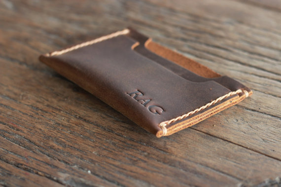 Свадьба - Sleeve Wallet PERSONALIZED WALLET - Leather Wallet DOUBLE Sleeve - Best Groomsmen Gifts - 009