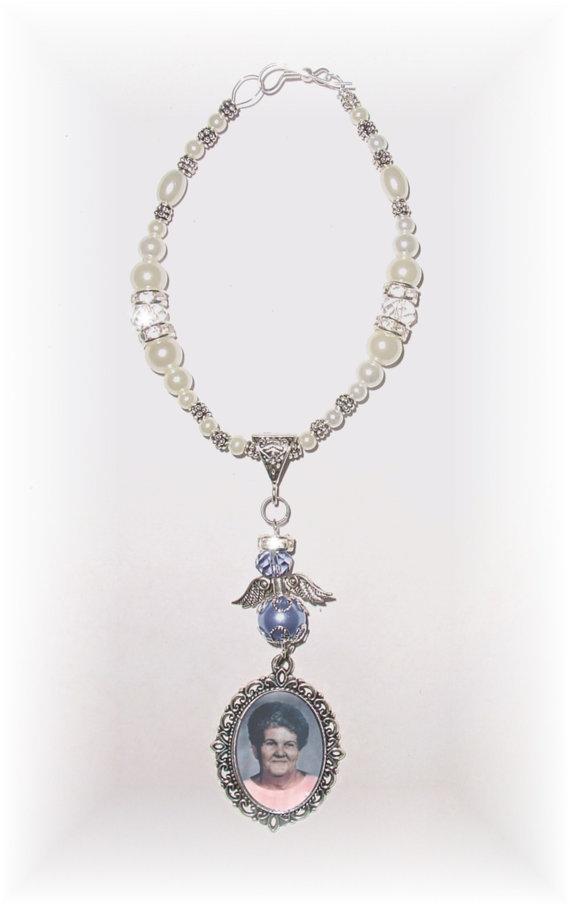 زفاف - Wedding Bouquet Memorial Photo Charm Light Purple Awareness Heavenly Angel Crystals Gems Pearls Silver Tibetan Beads - FREE SHIPPING