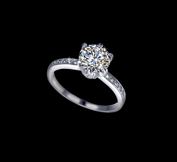 Свадьба - Classic Round Cut  2 ct Cubic Zirconia Engagement Ring  Classic 6 Prongs Ring Wedding Ring Diamond Pave Accent Ring Rromise Ring,  AR0122