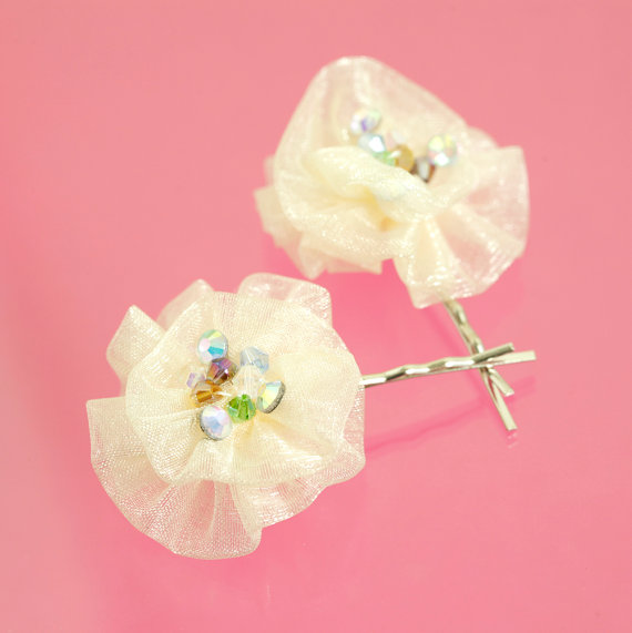 Hochzeit - Crystal Simple Ivory Rainbow Satin Rose Bobby Pin Hair Accessories, Hair Flower Bobby Pins