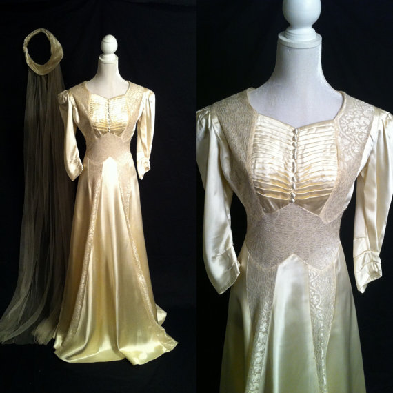 Düğün - Vintage 1920s Wedding Gown, Edwardian Wedding Dress, Satin Wedding Gown, Vintage Ivory Wedding Dress, 1920 Bridal Gown, Vintage Cream Gown