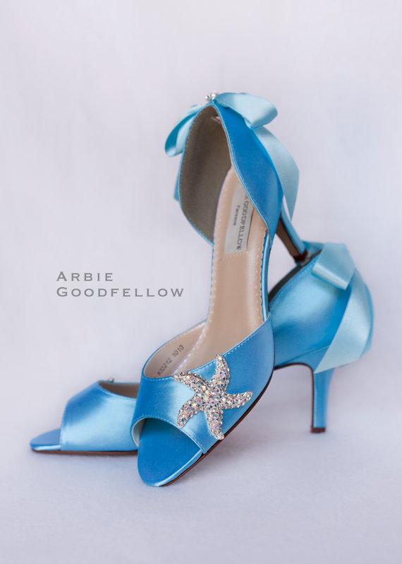 Mariage - Starfish Wedding Shoes - Arbie Goodfellow - Seaside Wedding - Destination Wedding - Beach Wedding - Blue Wedding Shoes - Custom Wedding Shoe