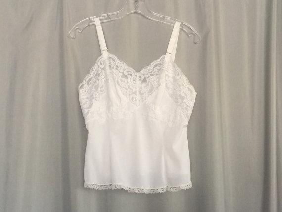 Vintage White Camisole Top Undershirt Lingerie Slip Lace