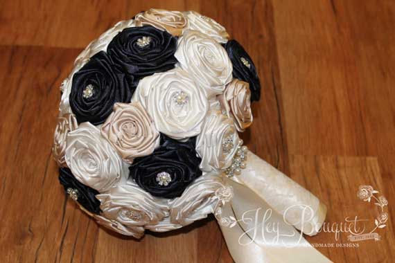 Navy Blue, Champagne, & Ivory Large Flower Bouquet, Navy Blue ...