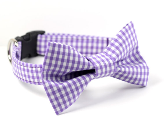 Свадьба - Bow Tie Dog Collar -  Wedding Dog Collar - Formal Bow Tie Collar - Purple Gingham