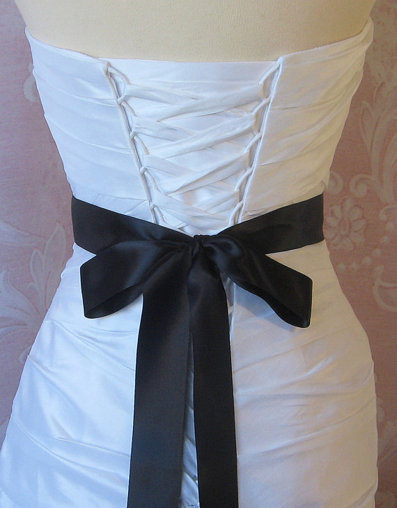 Mariage - Double Face Black Satin Ribbon, 1.5 Inch Wde, Ribbon Sash, Bridal Sash, Wedding Belt, 4 Yards