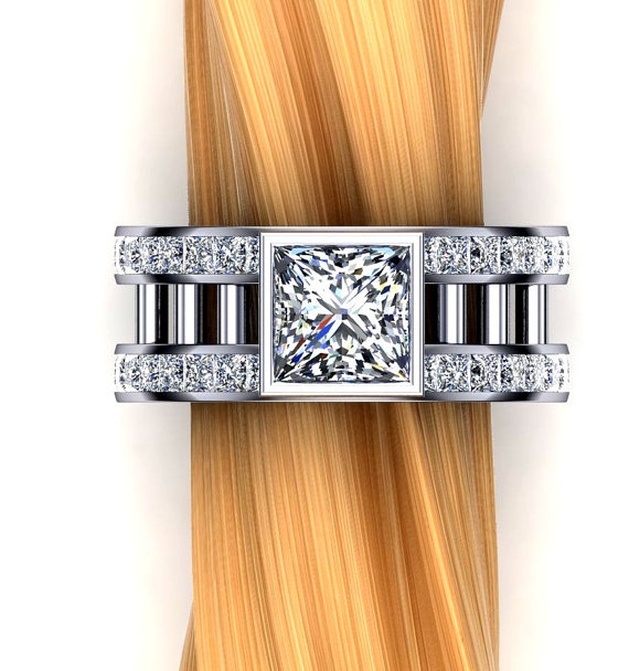 Mariage - Two Carat Diamond Engagement Ring, Princess Cut, Double Rows of Accent Diamonds