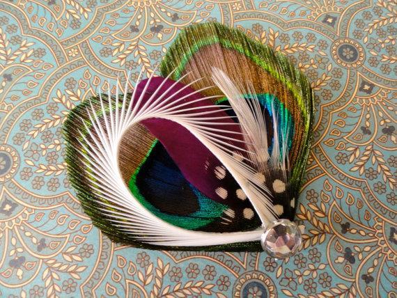 زفاف - CHLOE in Natural Peacock Feather and Purple Hair Clip
