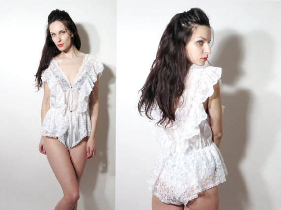 Wedding - Vintage White Lace Ruffle Romantic Sleeveless Sexy Leotard / Bath Wear / Bodysuit Size L