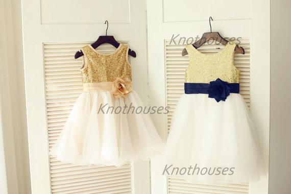 233e1cfe9 Gold Sequin IvoryTulle Flower Girl Dress Navy Blue Flower Belt Children  Toddler Party Dress for Wedding Junior Bridesmaid Dress