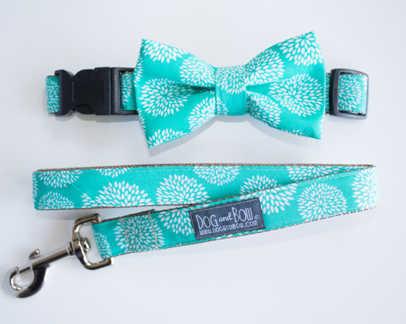 Свадьба - Teal Floral Bow Tie For Dogs With Collar Optional Leash by Dog and Bow